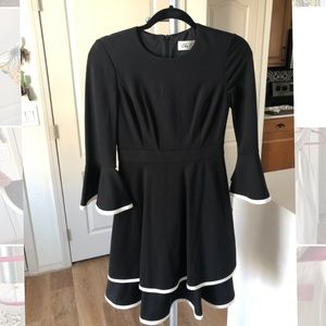 Eliza J black dress with long bell sleeves